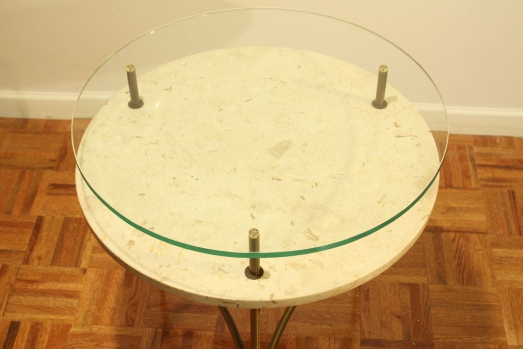 Italian side table with travertine shelf and glass top image 4