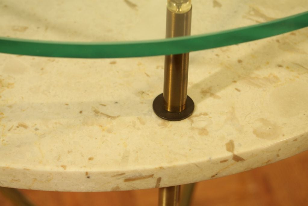 Italian side table with travertine shelf and glass top image 5