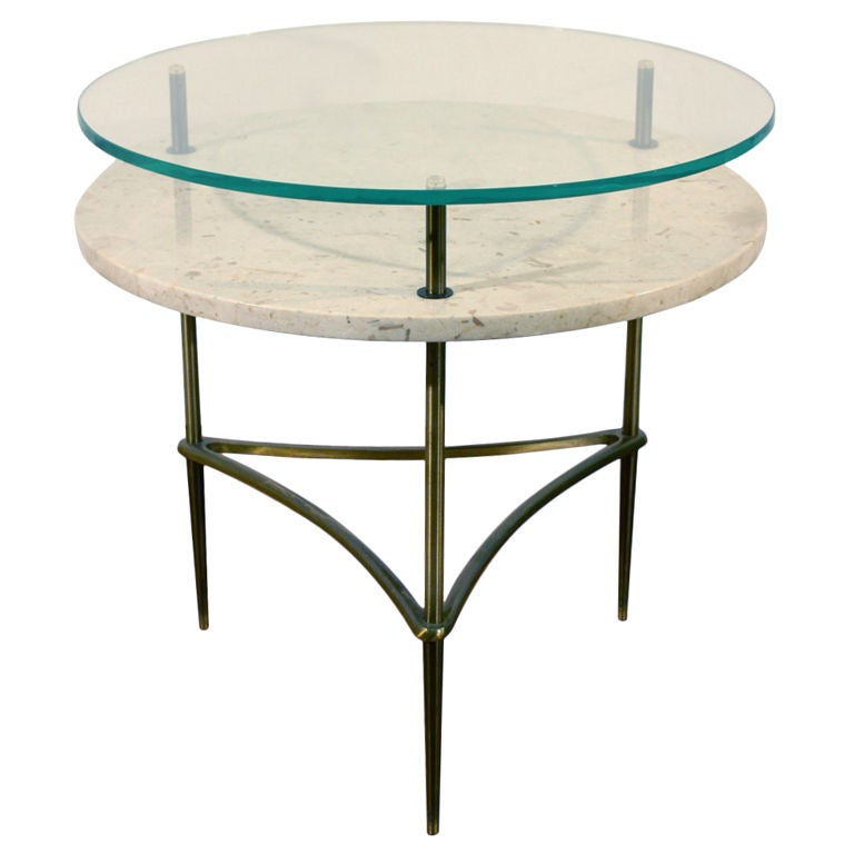 Italian side table with travertine shelf and glass top