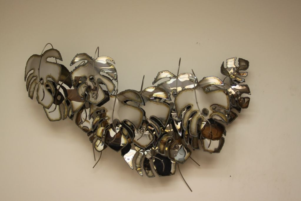 Curtis Jere Signed And Dated Metal Leaf Wall Sculpture At