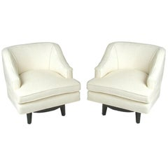 Pair of Tommi Parzinger for Charak Modern Swivel Armchairs