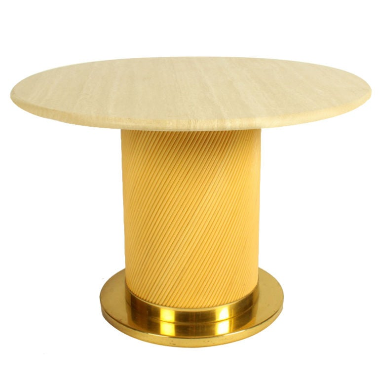 1970s Travertine Brass and Rattan Side Table by Bielecky Brothers