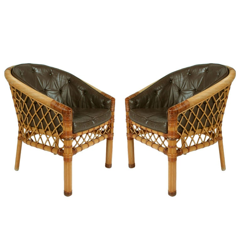 Pair of Cane and Leather Armchairs by Bielecky Bros For Sale