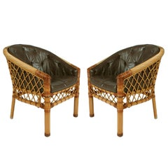 Pair of Cane and Leather Armchairs by Bielecky Bros