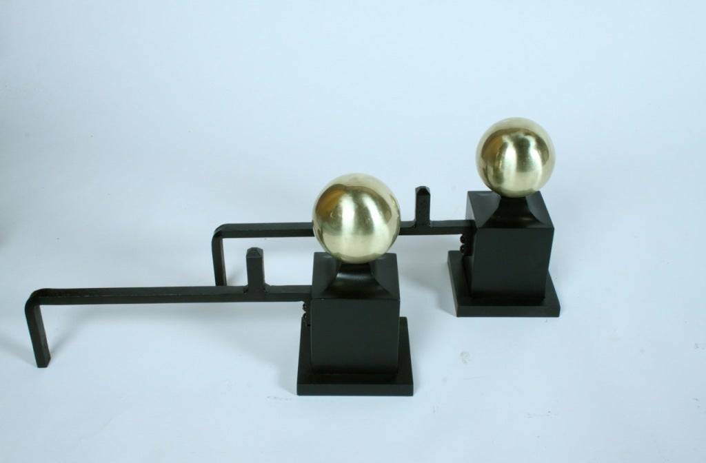 Art Deco Andirions with brass spheres on iron columns In Excellent Condition In St. Louis, MO