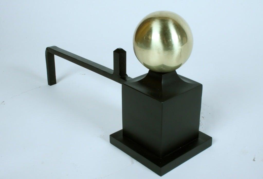 20th Century Art Deco Andirions with brass spheres on iron columns