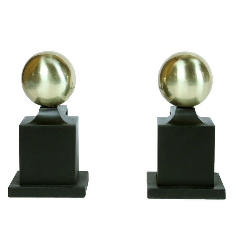 Art Deco Andirions with brass spheres on iron columns