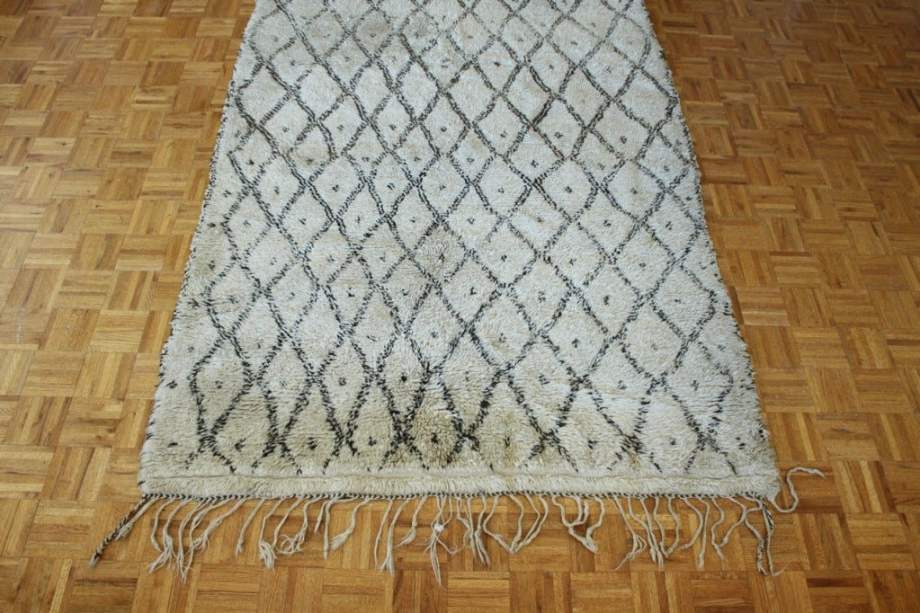 Moroccan Rug in Ivory with Chocolate Brown Design For Sale 2