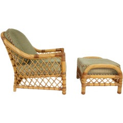 Bielecky Bros.  Rattan Lounge chair and ottoman (Two Available)
