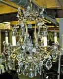 French Six Light Gilt Bronze and Crystal Chandelier image 2