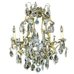 French Six Light Gilt Bronze and Crystal Chandelier