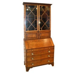 English George III Oak Bureau Bookcase