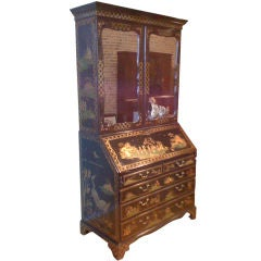 Georgian Bureau Bookcase/Later Chinoiserie Decoration