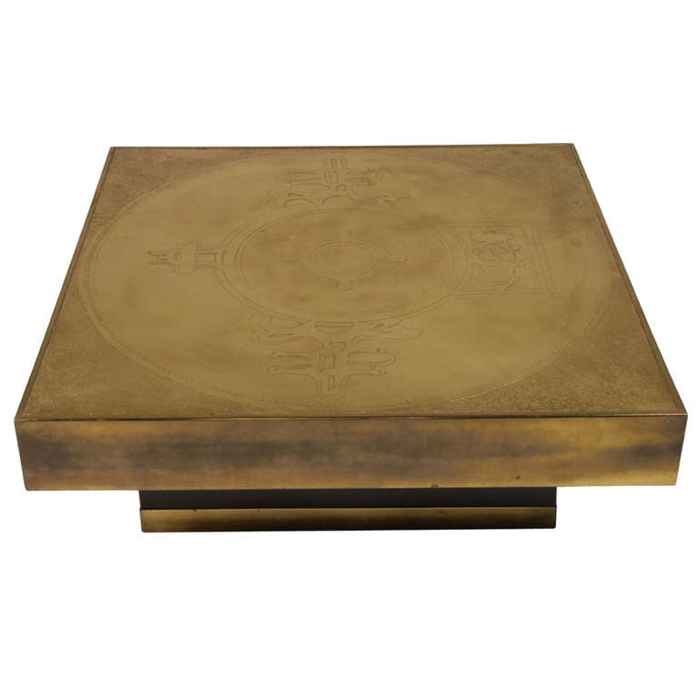 Marc D'Haenens Etched Bronze Coffee Table For Sale At 1stdibs