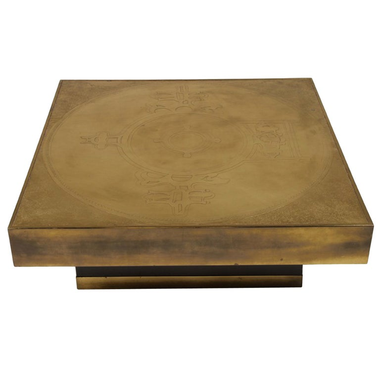 Marc D'Haenens Etched Bronze Coffee Table For Sale