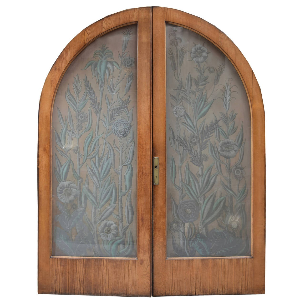 Pair of art nouveau etched glass doors for sale at 1stdibs for Etched glass doors