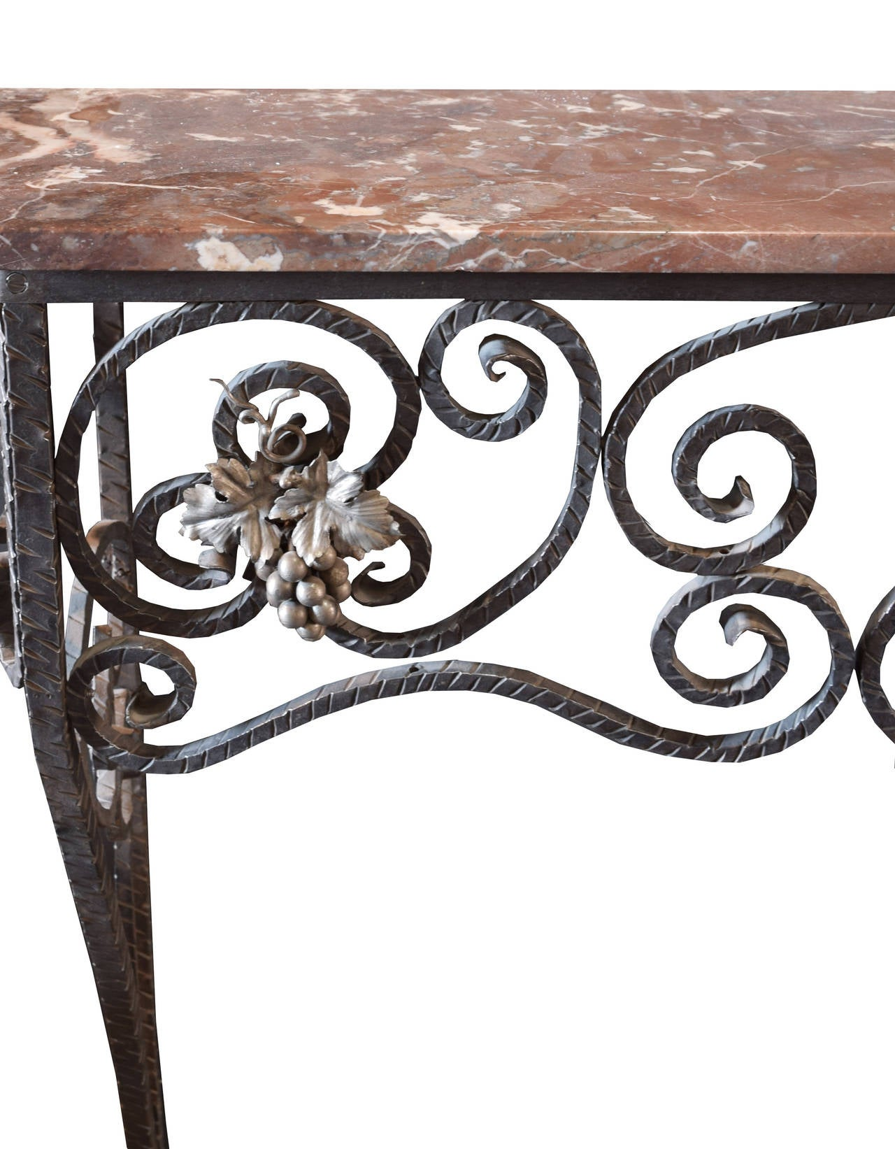 Fer forge console table with marble top for sale at 1stdibs for Table fer forge jardin