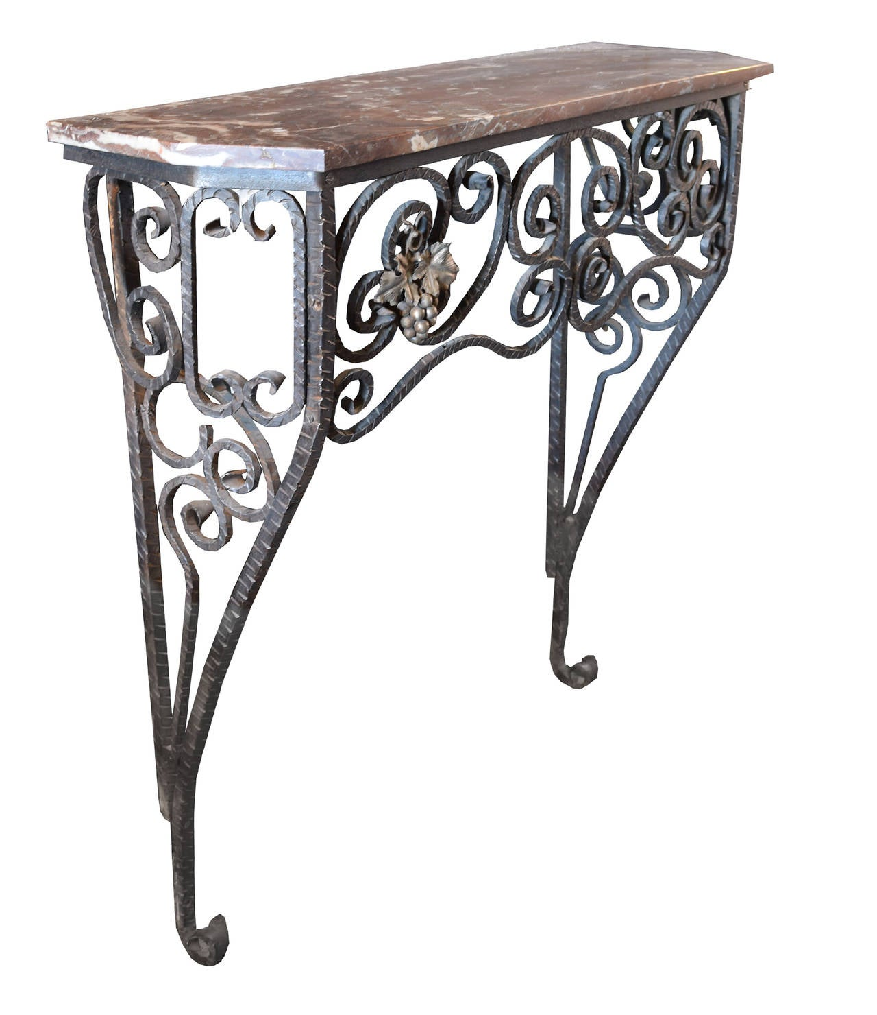 Fer forge console table with marble top for sale at 1stdibs for Table fer forge