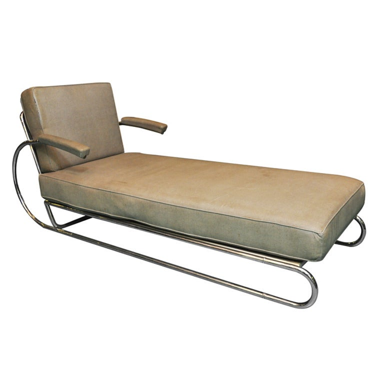 Art deco adjustable chrome chaise longue at 1stdibs for Art deco style chaise lounge