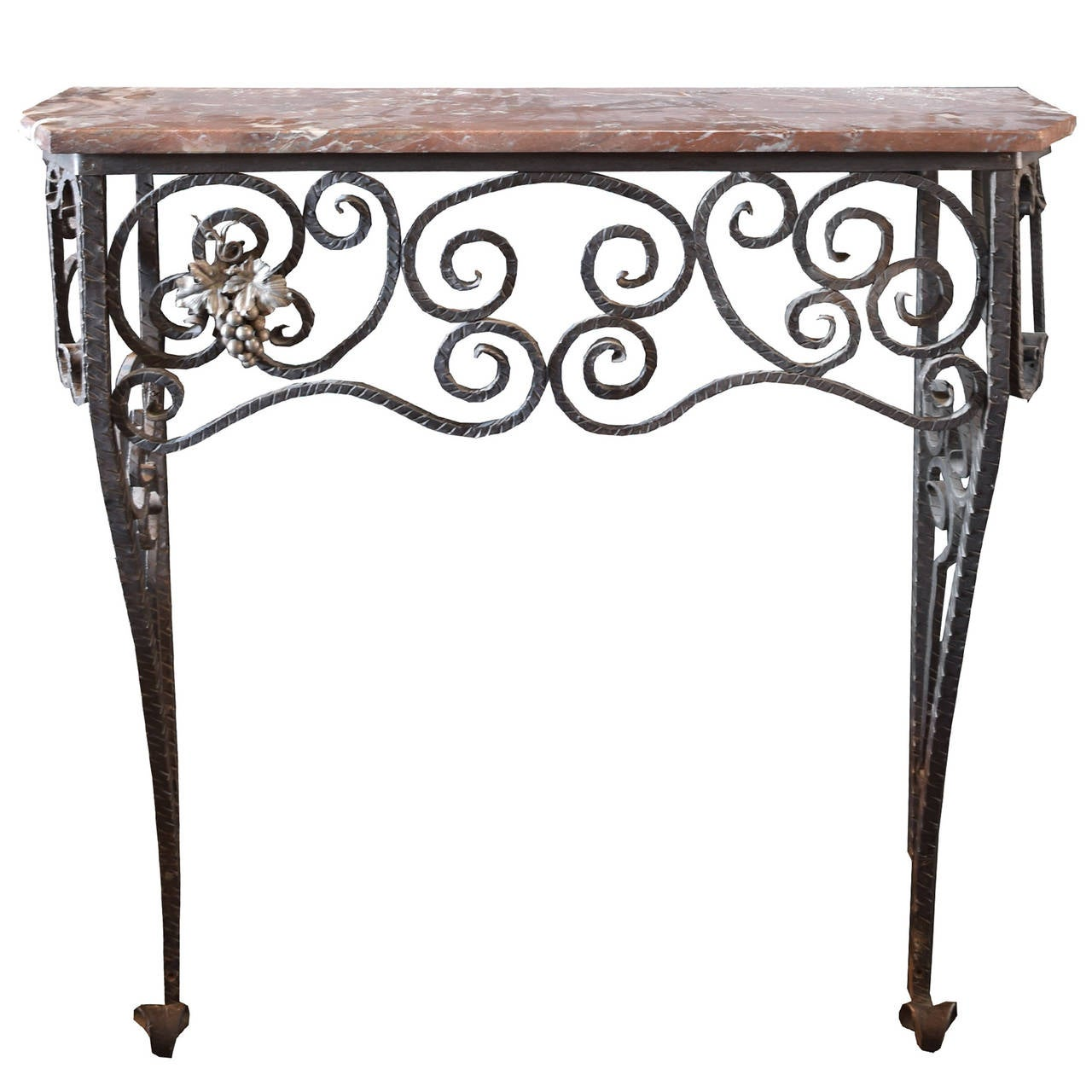 Fer forge console table with marble top for sale at 1stdibs for Table bar fer forge