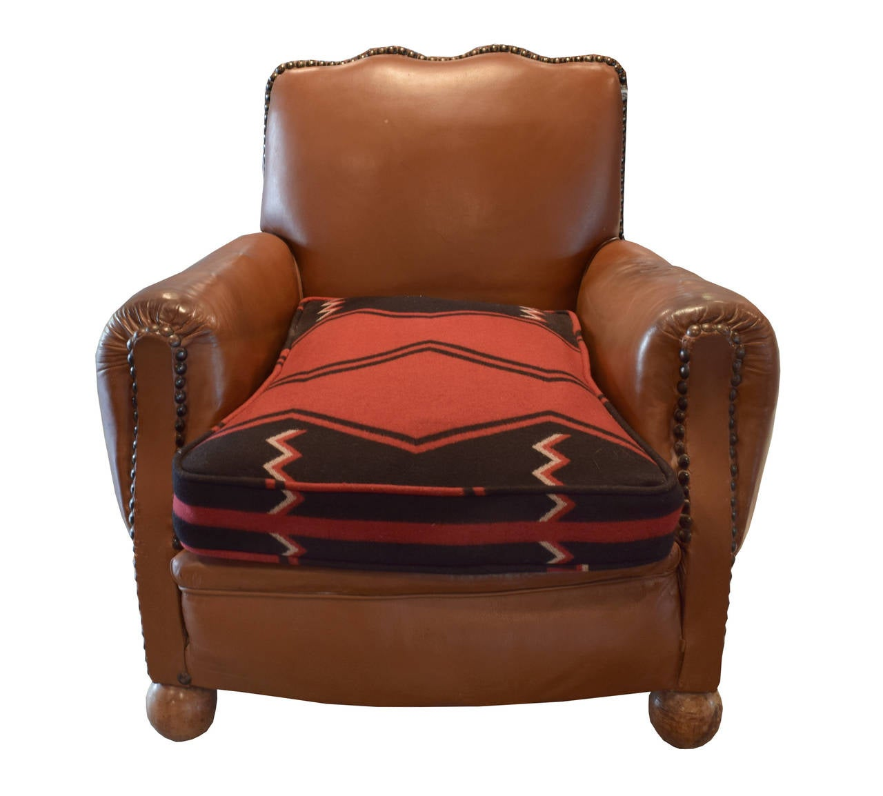 Leather Club Chair With Ralph Lauren Cushion At 1stdibs