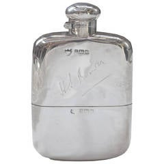 1910 Solid Sterling Silver Hip Flask