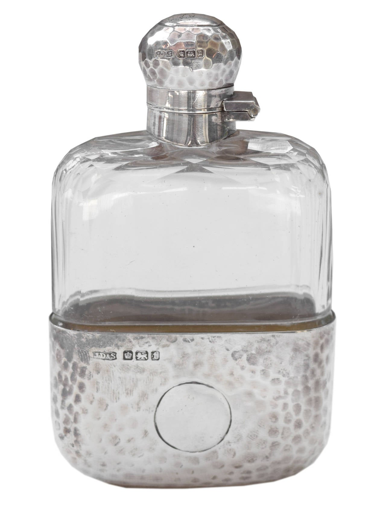 James Dixon & Sons Hammered Sterling and Crystal Flask 3
