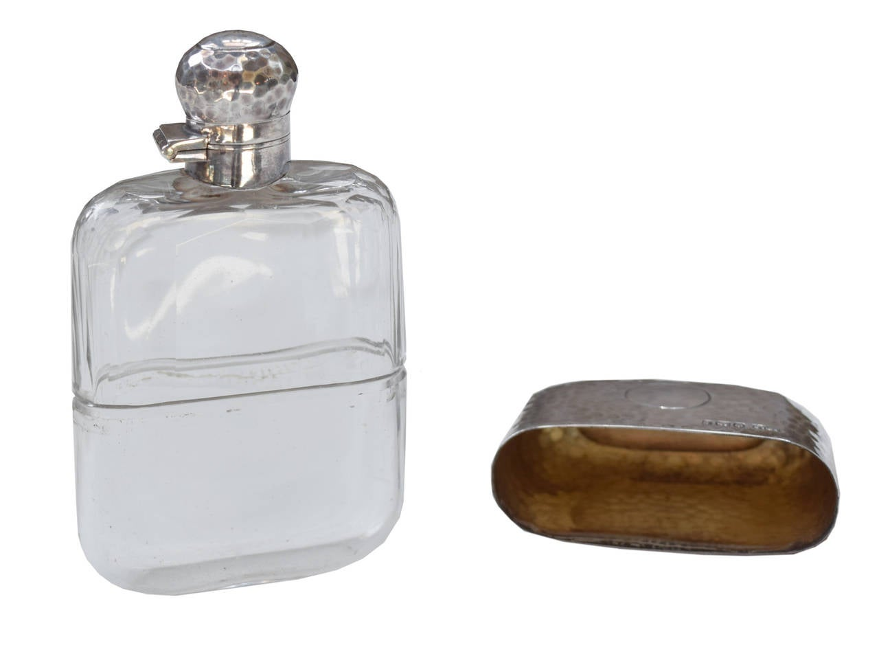 James Dixon & Sons Hammered Sterling and Crystal Flask 4
