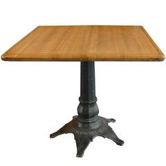 American Wood Table with Brass Inlay
