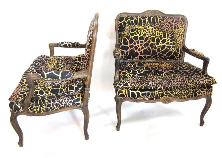 Pair of louis xv style extra large armchairs fauteuil at
