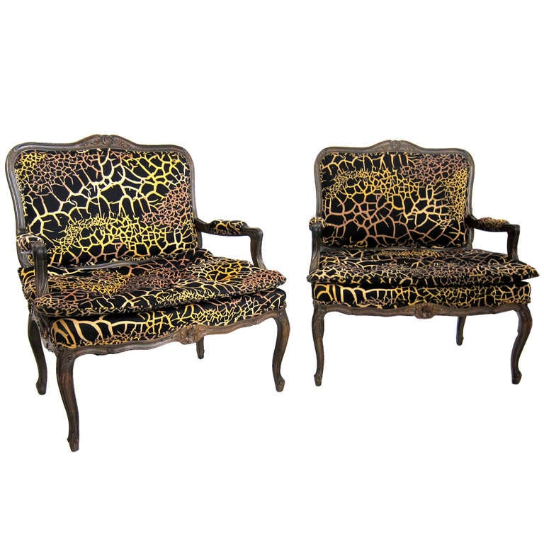 Pair of louis xv style extra large armchairs fauteuil at 1stdibs - Fauteuil style louis xv ...