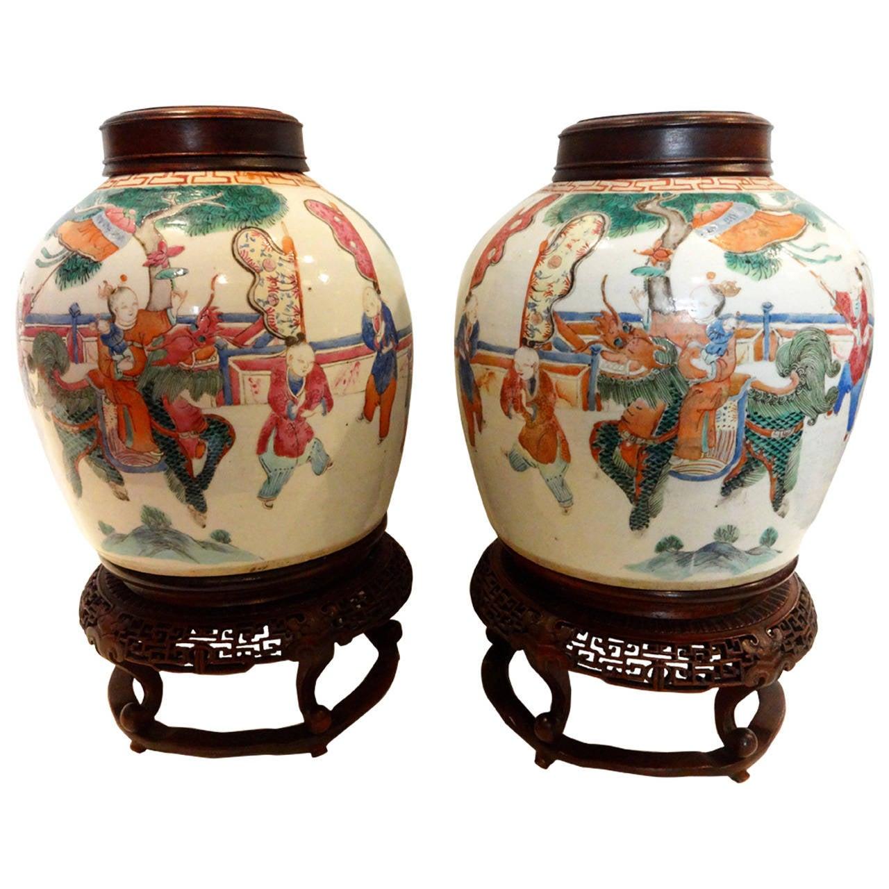 Chinese Ginger Jars Pair Chinese Famille Rose Ginger Jars At 1stdibs