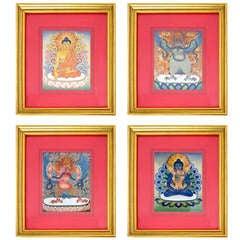 Set of Four Thai Tanka Paintings