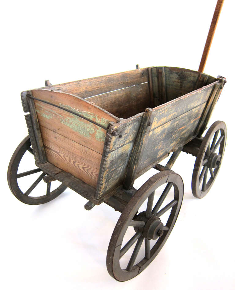 Antique Childs Wagon With Steel Wheels At 1stdibs