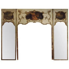 Very Tall French Trumeau Three Piece Wall Mirror Panel With Sconces