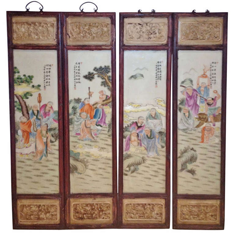 Exquisite Wall Coverings From China: Set Of 4 Chinese Porcelain Wall Panels At 1stdibs