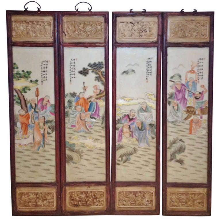 Set Of 4 Chinese Porcelain Wall Panels At 1stdibs