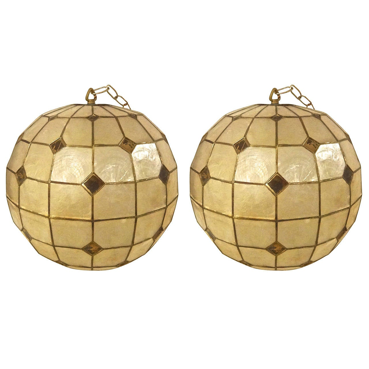 pair of capiz shell globe chandeliers at 1stdibs. Black Bedroom Furniture Sets. Home Design Ideas