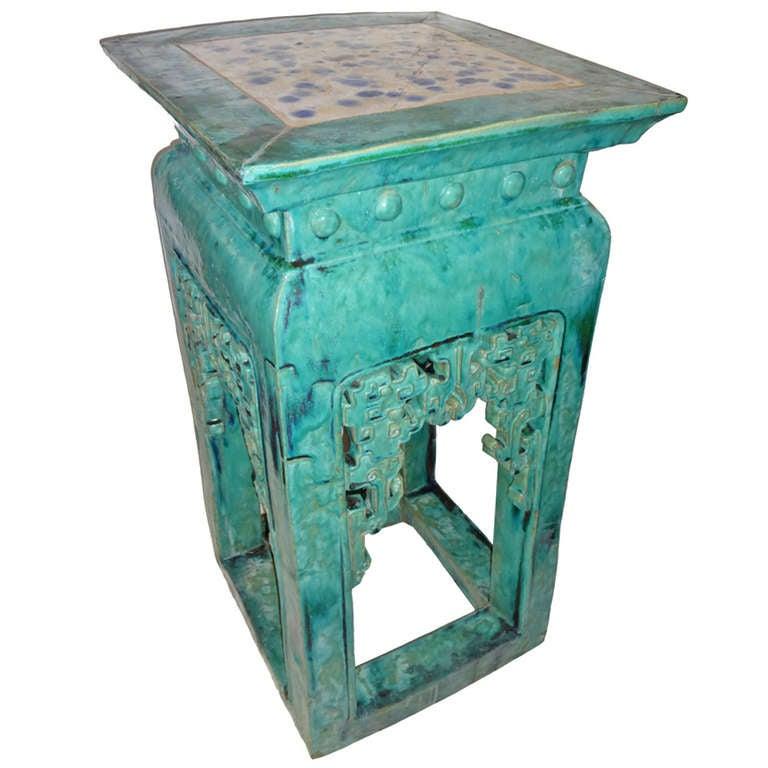 Chinese Ceramic Large Stand Pedestal At 1stdibs
