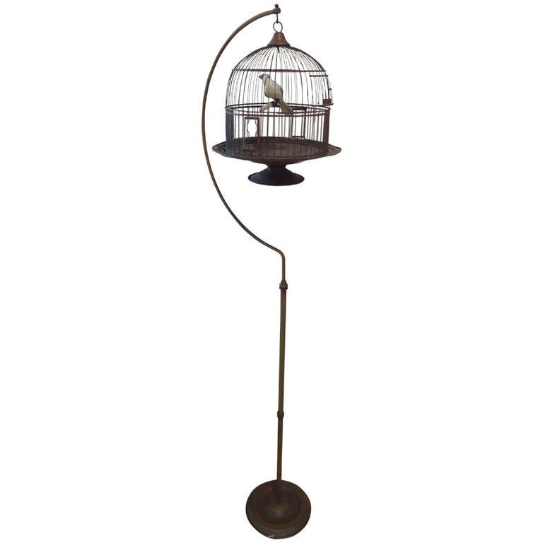 Hendryx Brass Bird Cage and Stand at 1stdibs