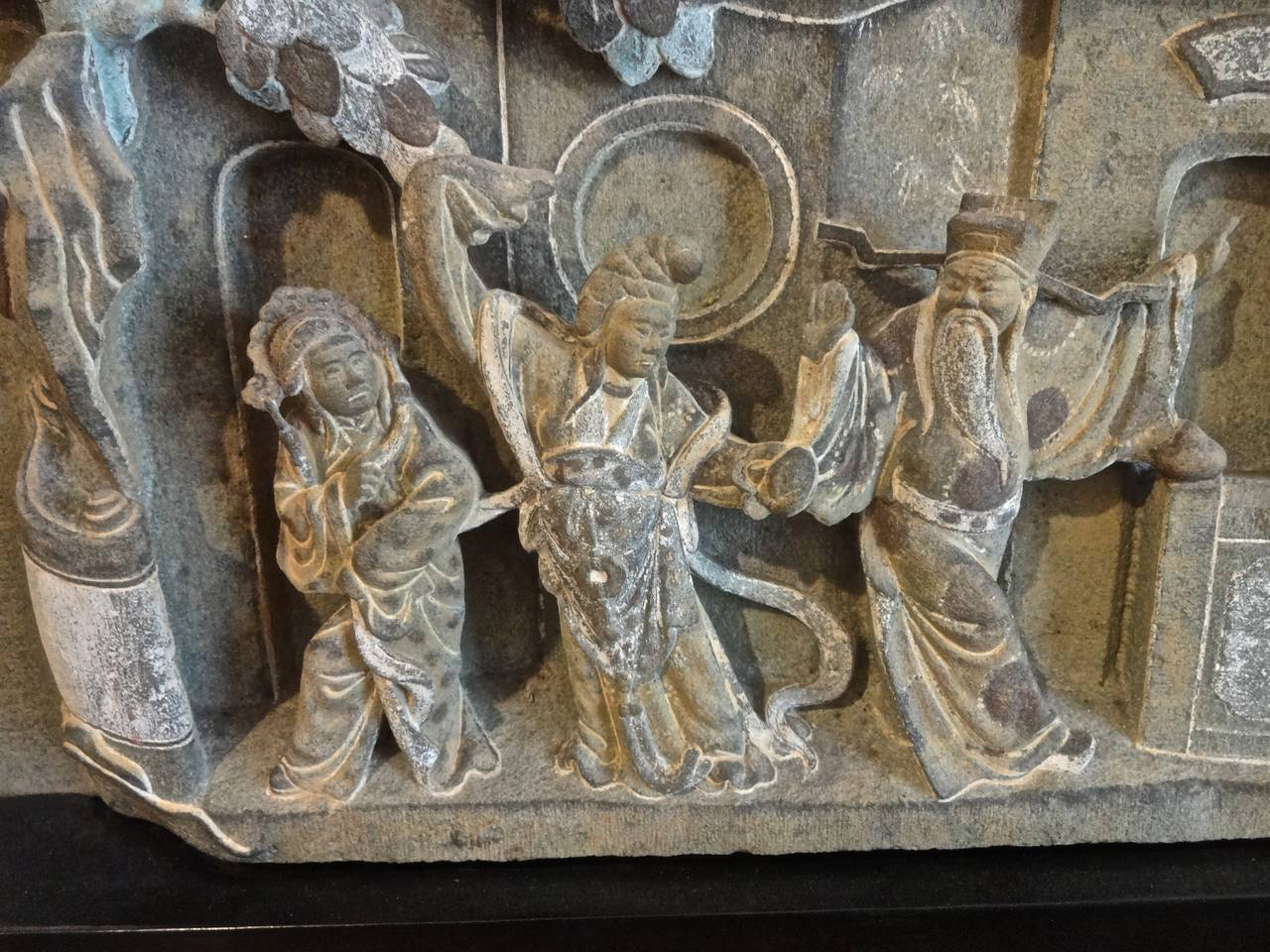 Pair of ming dynasty carved stone relief panels for sale
