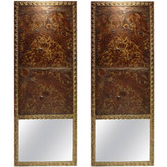 Pair of French Embossed Leather Panel Mirrors