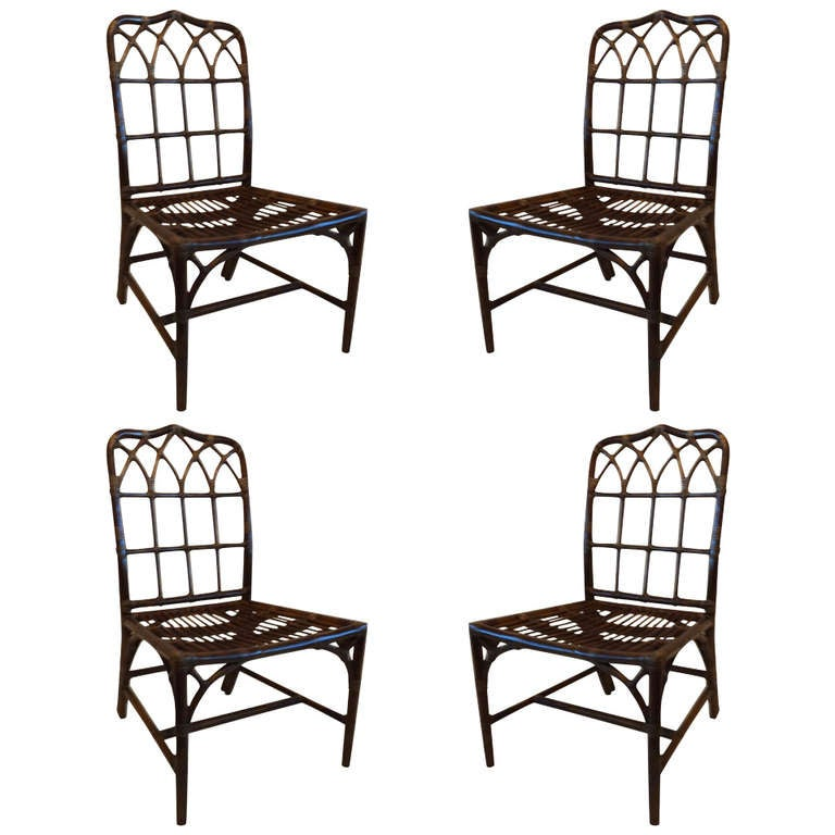 set of 4 mcguire side chairs at 1stdibs
