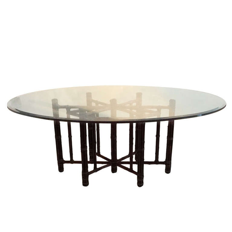 Mcguire Bamboo And Glass Dining Table At 1stdibs