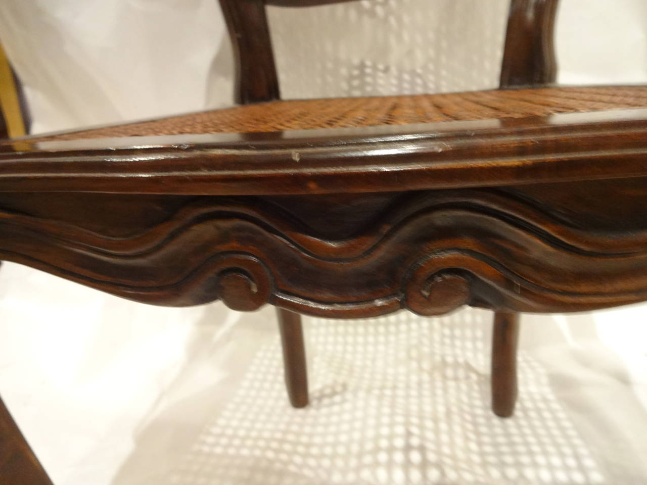 French Provincial Walnut Arm Chair For Sale at 1stdibs