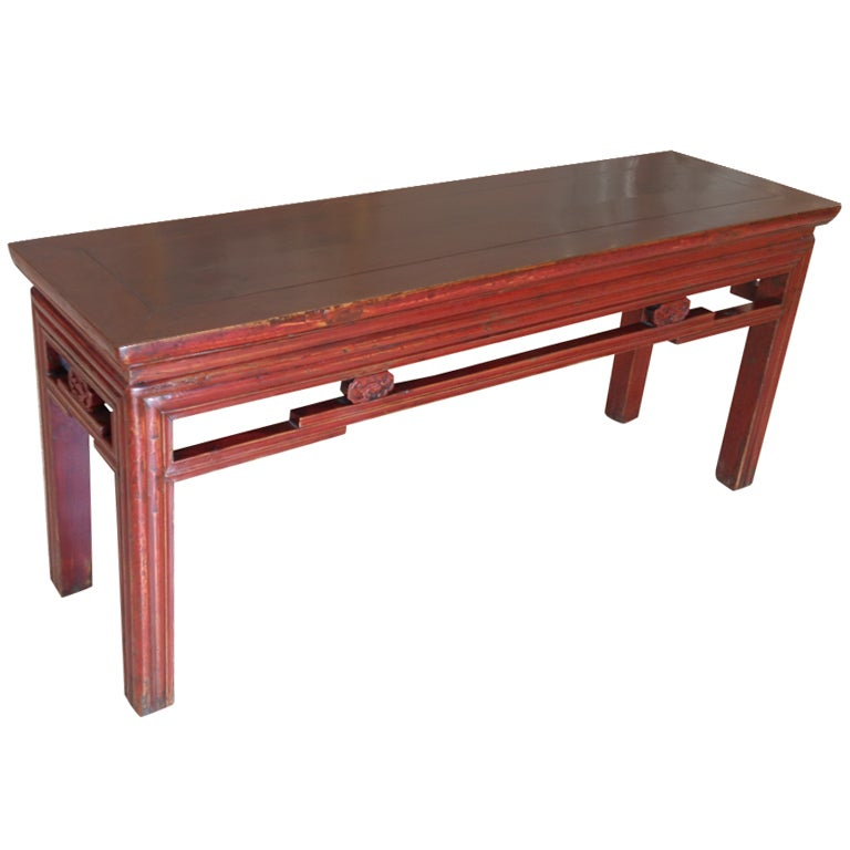 Chinese Red Lacquered Bench At 1stdibs