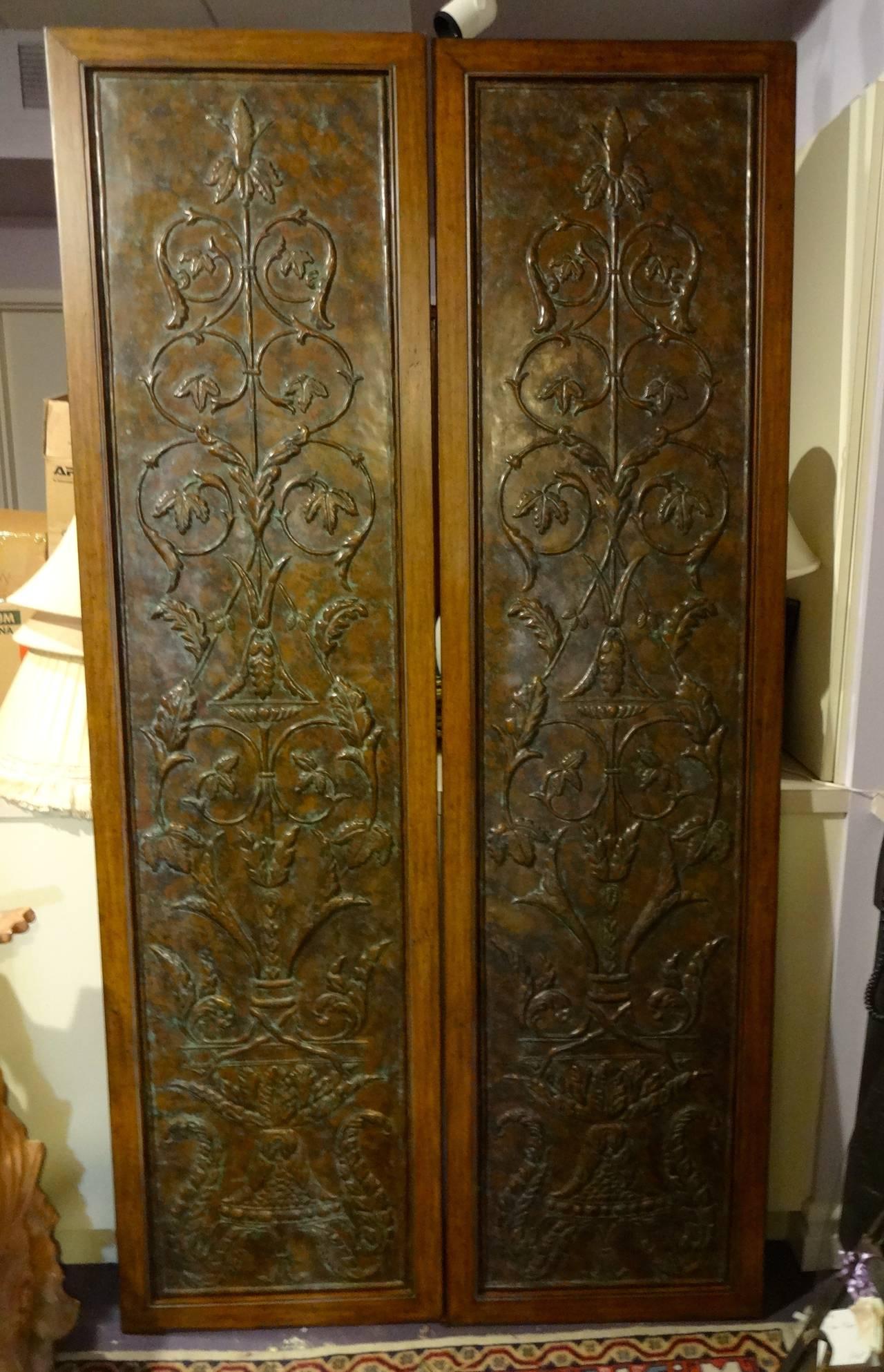 Decorative Door Panels : Pair pressed metal door panels at stdibs