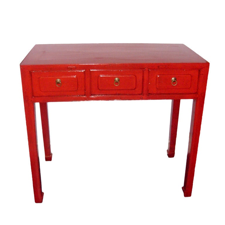 Chinese Red Lacquer Desk At 1stdibs