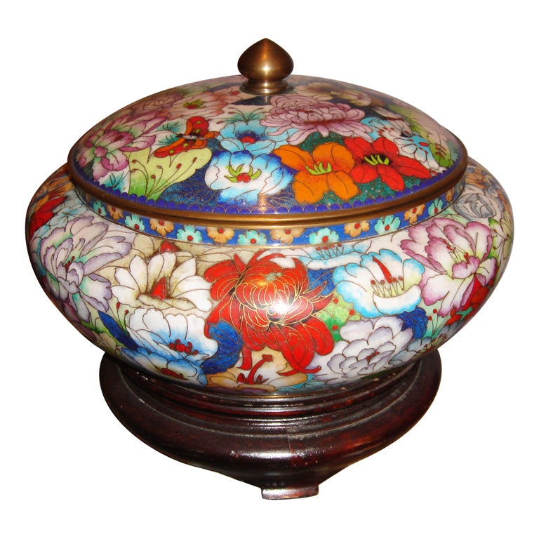 Large cloisonn bowl w lid and stand at 1stdibs for Cloison stand