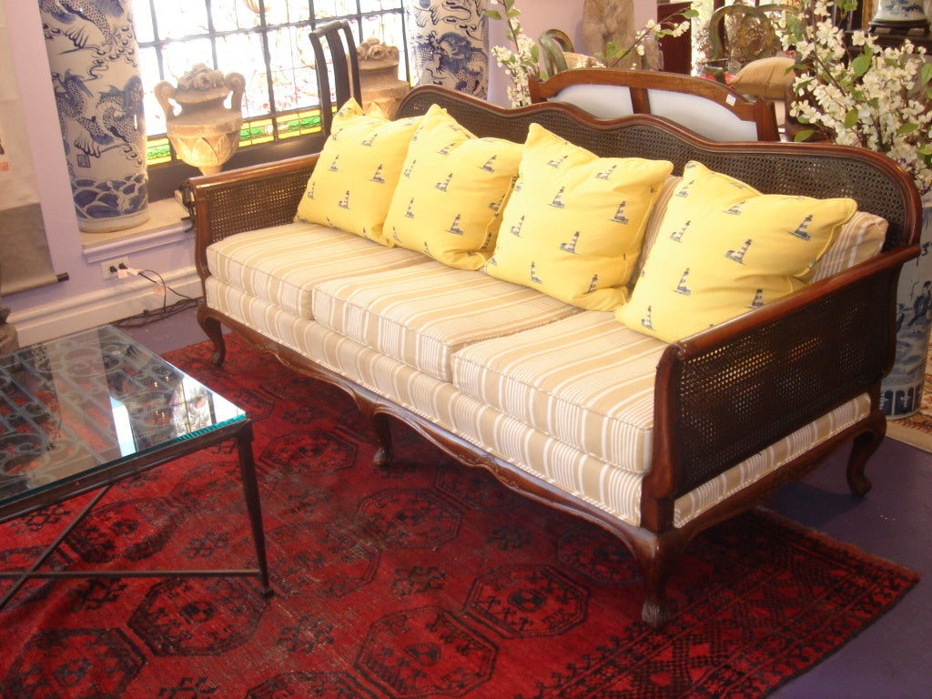 British Colonial Double Cane Sofa At 1stdibs